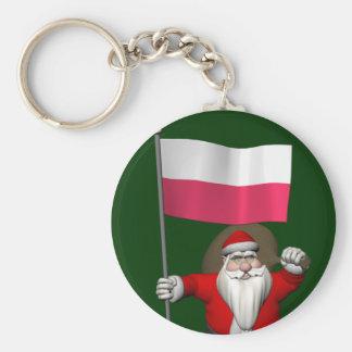 Porte-clés Le père noël avec le drapeau de la Pologne