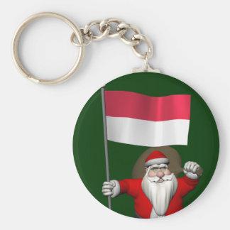 Porte-clés Le père noël avec le drapeau de l'Indonésie