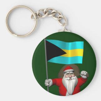 Porte-clés Le père noël avec le drapeau des Bahamas