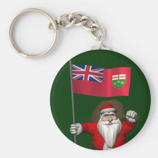 Porte-clés Le père noël avec le drapeau d'Ontario CDN