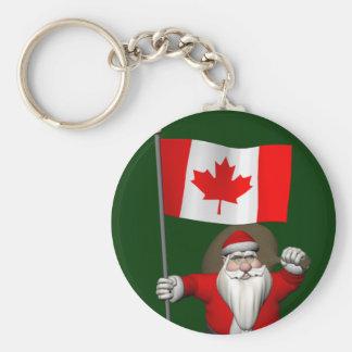Porte-clés Le père noël avec le drapeau du Canada