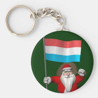 Porte-clés Le père noël avec le drapeau du Luxembourg