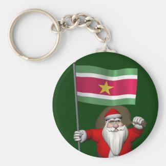Porte-clés Le père noël avec le drapeau du Surinam
