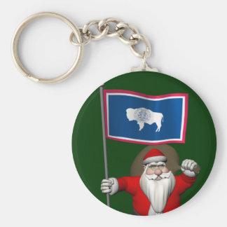 Porte-clés Le père noël avec le drapeau du Wyoming