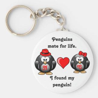 Porte-clés Le pingouin I a trouvé mon compagnon pour le coeur