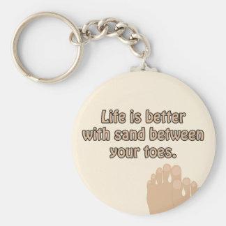 Porte-clés Le sable de plage de bonheur botte le porte - clé