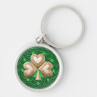Porte-clés Le shamrock d'or sur le Celtic noue le porte - clé