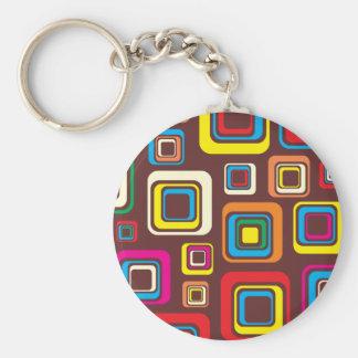 Porte-clés Les années 70 carrés super de motif de tuile sur