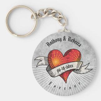 Porte-clés Les coeurs tatoués ajoutent les noms et la date