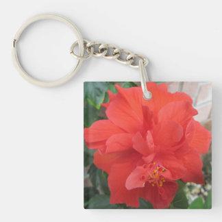 Porte-clés Les ketmies plantent floral rouge