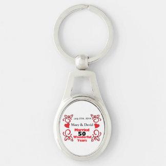 Porte-clés Les noms rouges de rouleau et de coeurs et datent