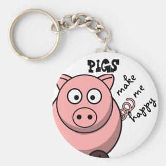 Porte-clés Les porcs me rendent heureux