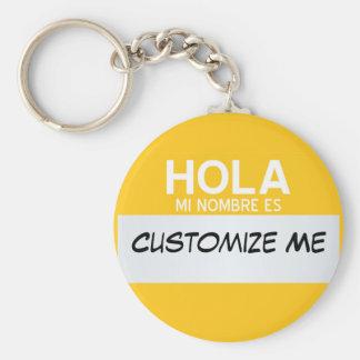 Porte-clés L'Espagnol bonjour mon nom est… personnalisable