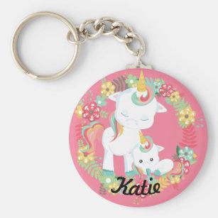Porte-clés Licornes mignonnes et floral personnalisés