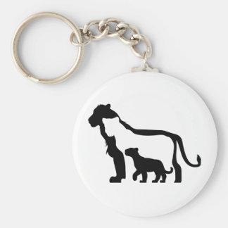 Porte-clés Lions noirs et blancs