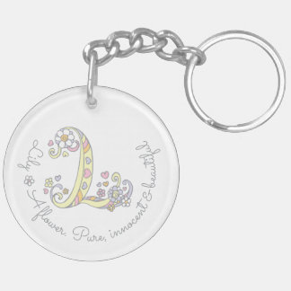 Porte-clés Lis L initial porte - clé personnalisé par nom de