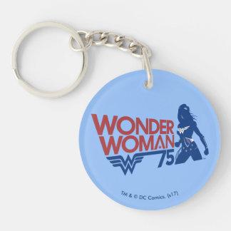 Porte-clés Logo rouge et bleu d'anniversaire de femme de