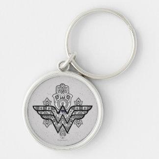 Porte-clés Logo spirituel de Paisley Hamsa de femme de