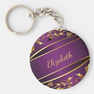 Porte-clés L'or pourpre et chic a coloré le nom classique de