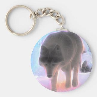 Porte-clés Loup de l'aurore d'hiver