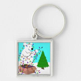 Porte-clés Lumières d'ours blanc et d'arbre