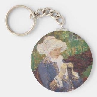 Porte-clés Lydia faisant du crochet dans le jardin à marneux,