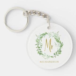 Porte-clés M. botanique vert d'or de Faux de la guirlande  