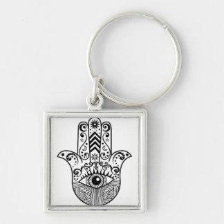 Porte-clés Main de Hamsa noire et blanche