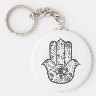Porte-clés Main florale tirée par la main simple de Hamsa