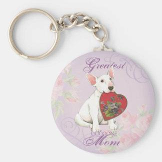 Porte-clés Maman de coeur de bull-terrier