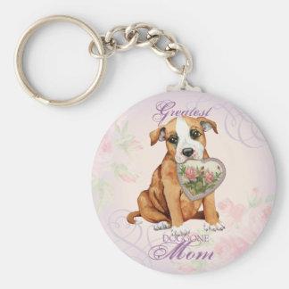 Porte-clés Maman de coeur de bull-terrier du Staffordshire