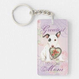 Porte-clés Maman miniature de coeur de bull-terrier