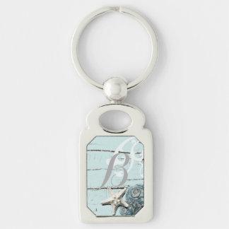 Porte-clés Mariage de plage bleu en bois élégant de