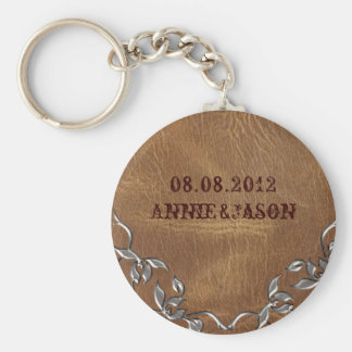 Porte-clés Mariage en cuir occidental sophistiqué