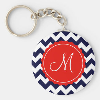 Porte-clés Marine et initiale rouge de coutume de zigzag