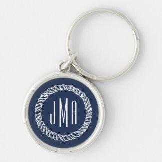 Porte-clés Marine et monogramme nautique blanc de corde