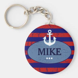 Porte-clés marine rayée personnalisée d'ancre