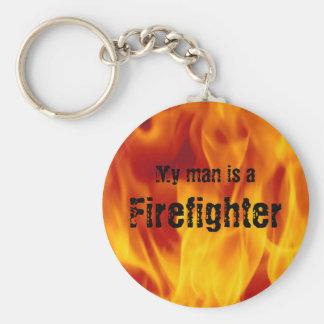 Porte-clés Mon homme est un sapeur-pompier - bouton