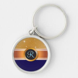 Porte-clés Monogramme de bleu de saphir d'étoiles de globe
