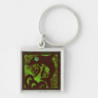 Porte-clés Monogramme de vert personnalisé par dauphin et de