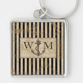 Porte-clés Monogramme nautique d'ancre de carte de Vieux
