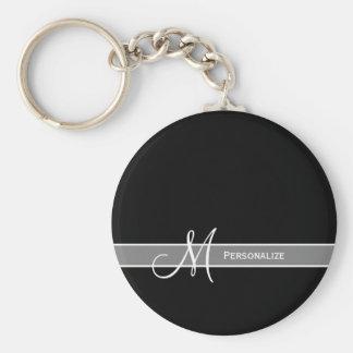 Porte-clés Monogramme noir et blanc élégant avec le nom