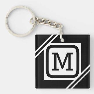 Porte-clés Monogramme rayé par carré simple noir et blanc