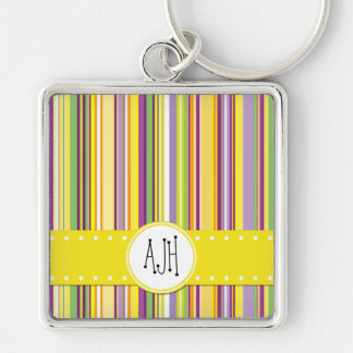 Porte-clés Monogramme - rayures, lignes - vert pourpre orange