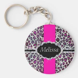 Porte-clés Monogramme rose de diamant d'impression de guépard