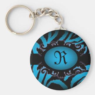 Porte-clés Monogramme sophistiqué d'impression de zèbre de