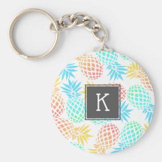 Porte-clés motif coloré tropical d'ananas d'été élégant