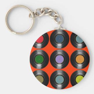 Porte-clés motif de disques vinyle de couleur