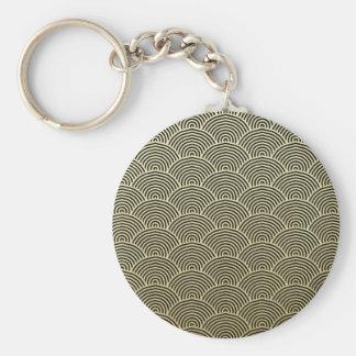 Porte-clés Motif de fan de cercle de noir de feuille d'or de