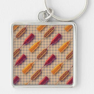 Porte-clés Motif de moutarde de ketchup de hot-dog